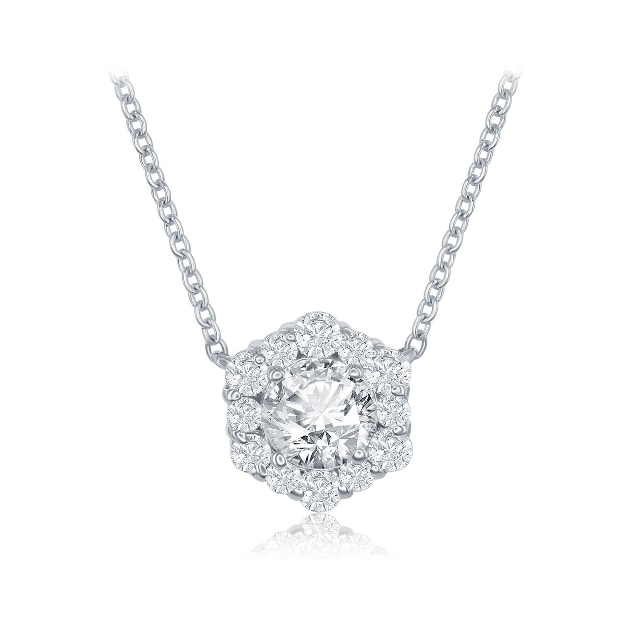 Round shape diamond necklaces forevermark integre single halo pendant aloadofball Image collections