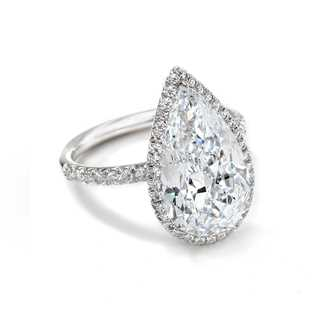 Exceptional Diamond Halo Pear Ring