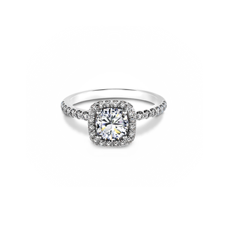 Ideal Cushion Halo Diamond Engagement Ring