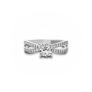 Hearts & Arrows Bypass Diamond Engagement Ring