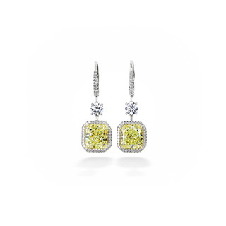 Fancy Yellow Cushion Diamond Drop Earrings