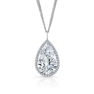 Exceptional Pear Diamond Halo Pendant