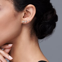 The Forevermark Tribute™ Collection Three Stone Bezel Studs
